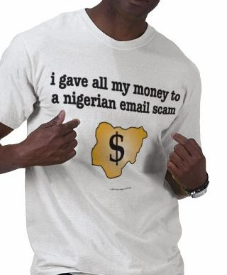 Nigerian Email Scam T-Shirt (419 scam)