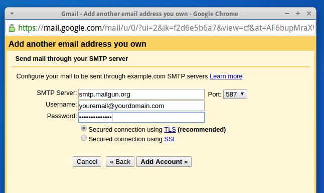 Configurações de e-mail SMTP